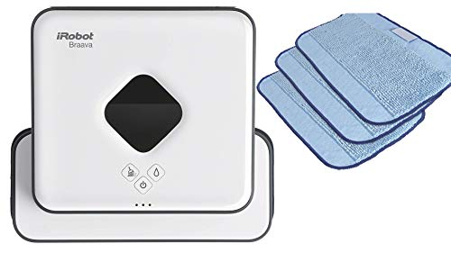 iRobot Braava 390t Wischroboter (für mehrere Räume und große Flächen, reinigt Flächen bis zu 92,9 m²) weiß + Braava Nasswisch-Mikrofasertücher (strukturiert) blau, 3er-Set