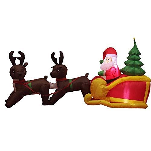 sknonr Reindeer Pull Wagen Weihnachtsmann aufblasbare Modell Weihnachtsverzierung mit LED-Beleuchtung Venue Dress Up Outdoor Indoor