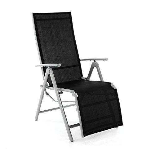 Nexos ZGC34464 Stuhl Liegestuhl Klappstuhl mit Fußstütze für Garten Terrasse, aus Aluminium Textilene, schwarz silber