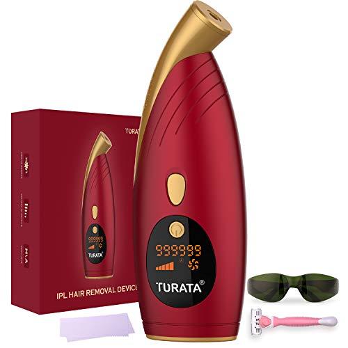 IPL Haarentfernungsgerät, TURATA 999,999 Lichtimpulse, Dauerhafte Haarentfernung IPL Gerät für Körper Gesicht Bikini-Zone Achseln & Damen Männer
