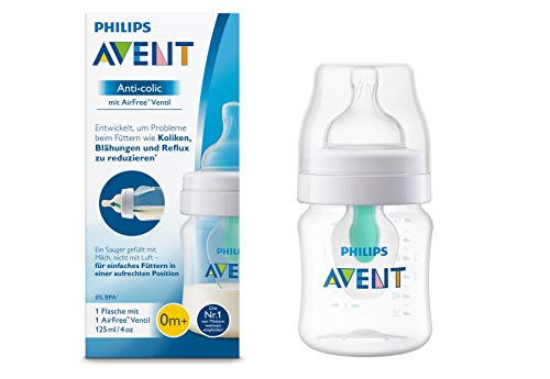Philips Avent Anti-colic Flasche mit AirFree Ventil SCF810/14, 125ml, 1er-Pack, transparent