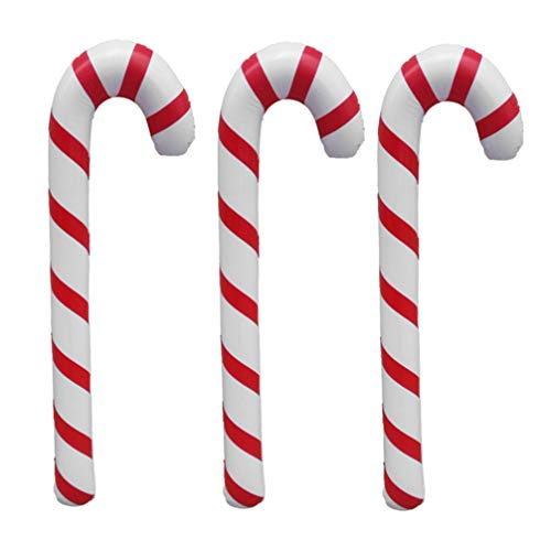 Toyvian 3 Stücke Weihnachten Zuckerstange Aufblasbare Gehstock Gehhilfe Stock Spazierstock Wanderstock Krücke Spielzeug Weihnachten Ballons Ornament 87 cm
