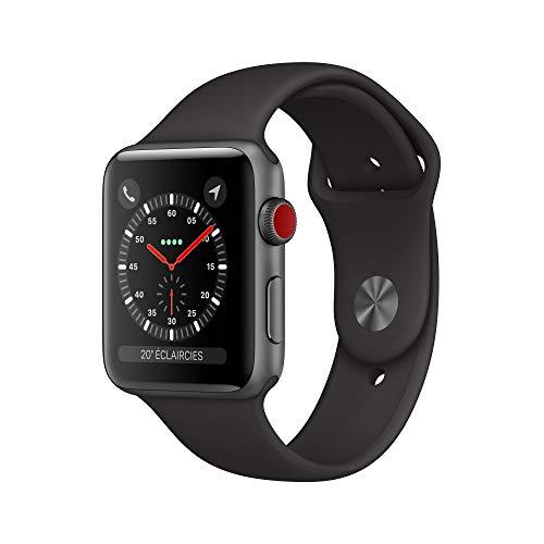 AppleWatch Series3 (GPS + Cellular), 42mm Aluminiumgehäuse, SpaceGrau, mit Sportarmband, Schwarz
