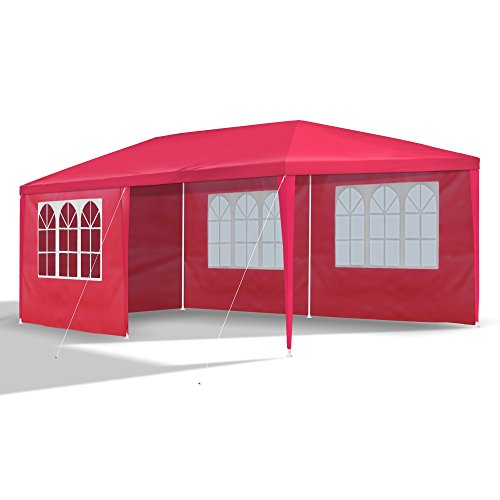JOM Gartenpavillon 3 x 6 m, rot, Pavillon, Pavillion, Partyzelt, Festzelt, Gartenzelt, mit 6 Seitenwänden 110G PE
