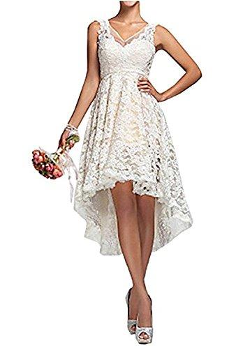 YASIOU Brautkleid Damen Elfenbein Weiß A Linie Tüll Spitze Vintage Vorne Kurz Hinten Lang Standesamt Hochzeitskleid