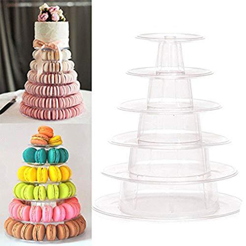 Cupcake-Ständer mit 6 Etagen, runder Macaron-Turm, durchsichtiger Acryl-Halter für Dessert, Lebensmittel, Gebäck, Servierplatte für Geburtstag, Hochzeit, Party