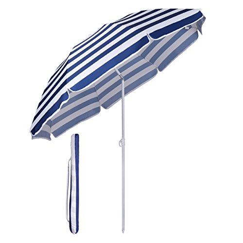 Sekey Sonnenschirm 160 cm Marktschirm Gartenschirm Terrassenschirm Rund Sonnenschutz UV20+ (Blaue weiße Streifen)