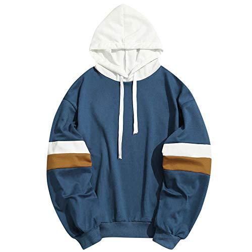 MAYOGO Herren Kapuzenpullover Tunnelzug Hoodie Sweatshirt College Sportliche Hoode Pullover Pulli Trainingtops Freizeit Laufen Sweatshirts (Marine, L)