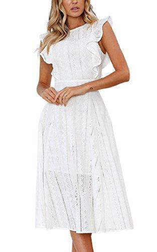 ECOWISH Spitzenkleid Damen Rundhals Ärmellos Sommerkleider Strandkleider A-Linien Kleid Abendkleid Cocktailkleider Knielang Weiß S