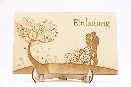 Einladungskarten Holz Einladungen Hochzeit Baum der Liebe Hochzeitsbaum Einzigartig Hingucker Laser Graviert Ehepaar I_088 (40)
