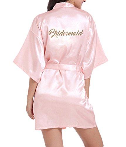 WPFING Bridesmaid Nnachthemd für Brautparty Hochzeits Roben Satin Glitter Rosa Medium