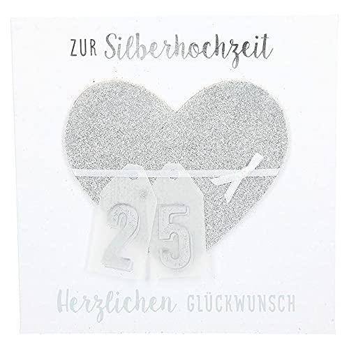 Depesche 8211.047 Glamour Glückwunsch-Karte zur Silber-Hochzeit, hochwertige Grußkarte mit glitzernden Elementen, ohne Innentext, inkl. Umschlag, 15,5 x 15,5 cm