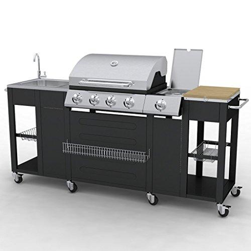 Festnight G-BBQ KIT BBQ Gasgrill Barbecue-Grill Grillwagen Edelstahl/Stahl Gas-Grill 204 x 59 x 112 cm