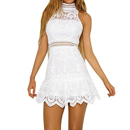 NPRADLA Mode Strand Minikleider Outdoor kurz Sommer Kleid Damen Ärmellos Gemütlich Abendkleider