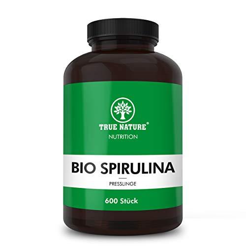 TRUE NATURE® Bio Spirulina Presslinge - 600 Tabletten à 500mg - REINE Bio Spirulina Alge ohne Zusätze - Hochdosiert, Vegan, Mehrfach Laborgeprüft, Made in Germany