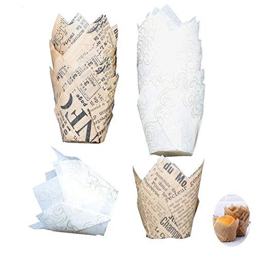 Tianher Tulpen-Backförmchen,100 Stück Cupcakes Tulpen Muffinform Papierförmchen in Tulpenform für Geburtstag Hochzeit Party Braun und Weiß 2 (je 50 Stück)