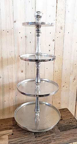 MichaelNoll Etagere XXL 4-Stöckig Dekoteller Schale - Servierplatte Groß aus Metall Aluminium - Silber Luxus - Tischdeko Hochzeit 95 cm