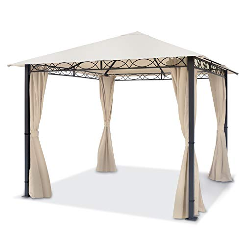 TOOLPORT Gartenpavillon 3x3 m wasserdicht Premium Pavillon mit 4 Seitenteilen Gartenzelt 280g/m² Dachplane in Creme Partyzelt