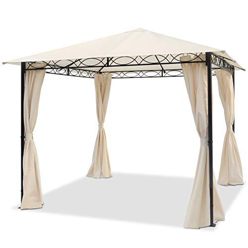 TOOLPORT Gartenpavillon 3x3 m wasserdicht Pavillon mit 4 Seitenteilen Gartenzelt 180g/m² Dachplane in Creme Partyzelt