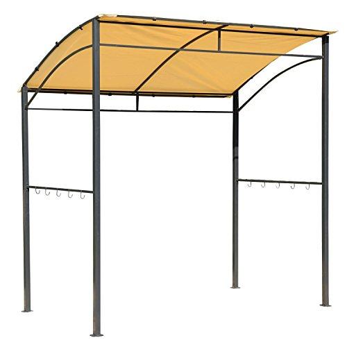 HOMCOM Outsunny Grillpavillon BBQ-Pavillon 215x150x180/220cm mit Flammschutzdach