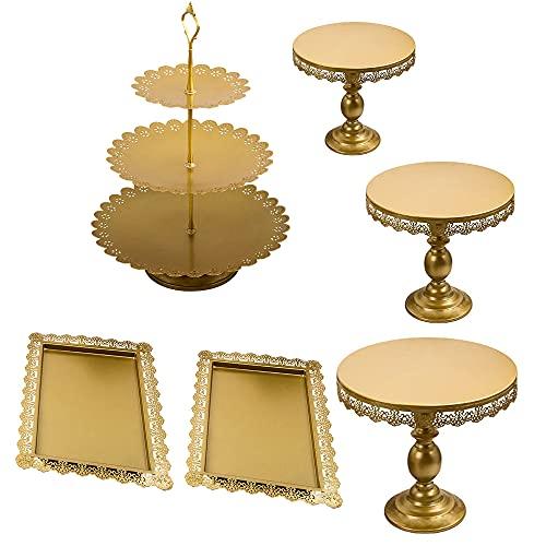 6 Stüke Tortenständer Gold Kuchenständer Metall Dessert Display 3 Etagen, Ø 30cm Cupcake für Party Hochzeit Deko Vintage-Stil Gebäckwerkzeug