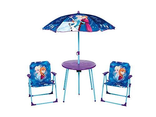 familie24 4tlg. Gartensitzgruppe Auswahl: Frozen - Star Wars - Spiderman - Hello Kitty - Minnie Maus Sitzgruppe Tisch + Sonnenschirm + 2X Stuhl Die Eiskönigin (Frozen Motiv 2)