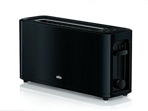 Braun HT 3110 BK Toaster   Langschlitz   Extrabreite Toastkammer   Herausnehmbare Krümelschublade   Aufwärm- und Auftaufunktion   7 Röstgrade   Separater Brötchenaufsatz   Schwarz