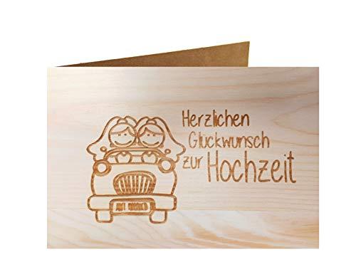 Holzgrußkarte - HERZLICHEN GLÜCKWUNSCH ZUR HOCHZEIT - 100% handmade in Österreich - Postkarte Glückwunschkarte Geschenkkarte Grußkarte Klappkarte Karte Einladung mrs gleichgeschlechtlich