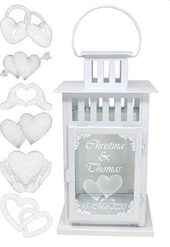 UDIG Laterne Metall mit 3D Gravur, Hochzeitsgeschenk Hochzeitslaterne, Metalllaterne weiß 28x15,5x15,5 cm