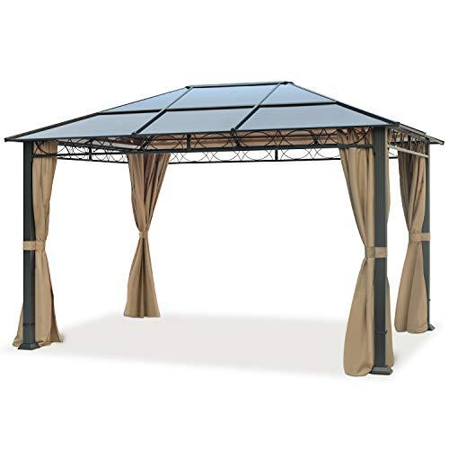 TOOLPORT Gartenpavillon 3x4 m wasserdicht ALU Deluxe Pavillon mit 4 Seitenteilen Partyzelt in Taupe lichtdurchlässiges PC Dach