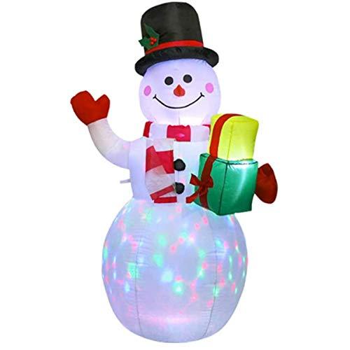 Siunwdiy Weihnachten aufblasbare Schneemann Dekorationen im freien mit bunten LED-Lichter, nettes Licht up Weihnachten aufblasbare Puppe für Garten Home Yard Patio Decor,Weiß