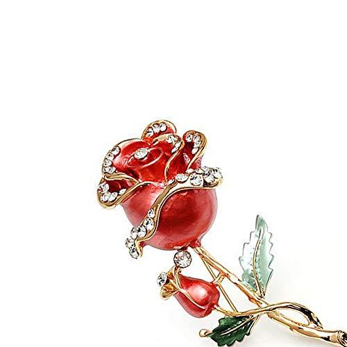 Fliyeong Stockton 1X Persönlichkeit Mode Rosa Blumen Frauen Brosche Strass Bedeckt Schals Schal Clip Für Frauen Damen (Rot)