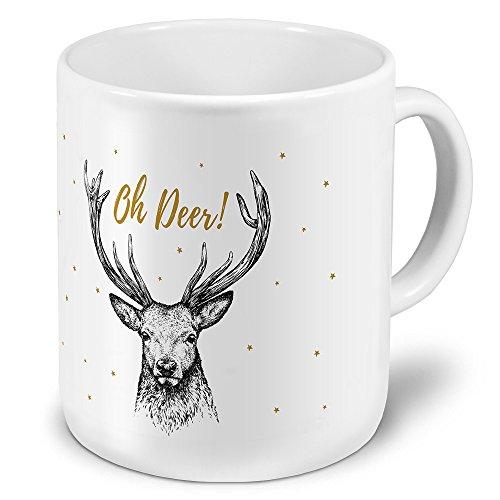 printplanet XXL Riesen-Tasse mit Motiv Oh Deer, Kaffeebecher, Mug, Becher, Kaffeetasse - Farbe Weiß