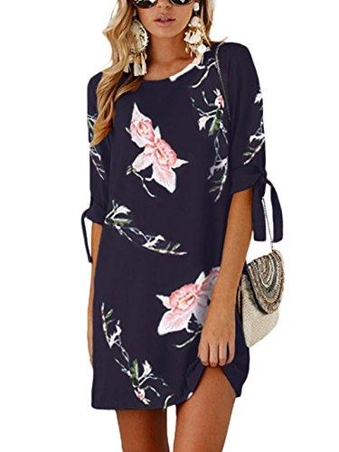 YOINS Sommerkleid Damen Kurz Tshirt Kleid Rundhals Kurzarm Minikleid Kleider Langes Shirt Lose Tunika mit Bowknot Ärmeln blau-02 EU32-34(Kleiner als Reguläre Größe)