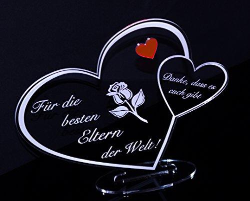 Acryl Schild in Herz Form Für die besten Eltern der Welt die perfekte Geschenkidee, mit Lasergravur, Geschenk, 205 mm x 170 mm (Für die besten Eltern der Welt!)