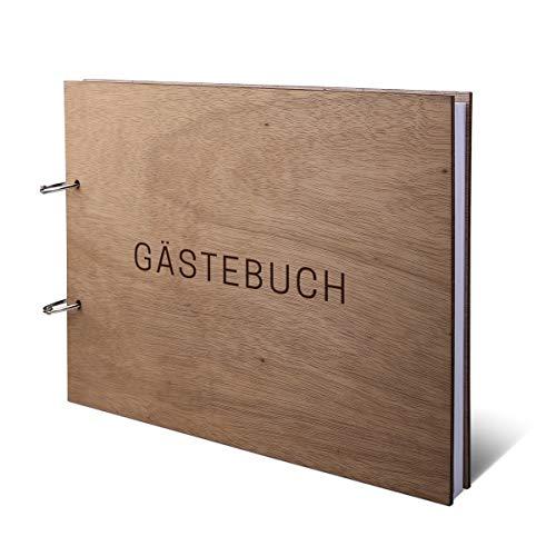 Hochzeit Gästebuch Okoume Holz Lasergravur Holzcover 144 Naturpapier Innenseiten DIN A4 quer 302 x 215 mm - Schlicht