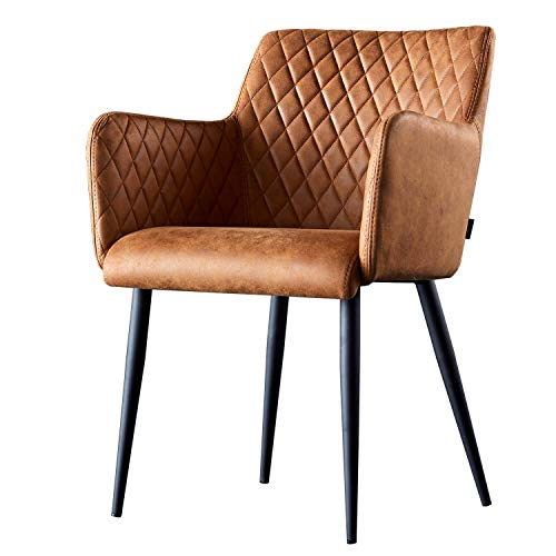 Damiware Rose Stuhl | Design Wohnzimmerstuhl Esszimmerstuhle Bürostuhl mit Leder-Optik Stoffbezug | (Cognac)