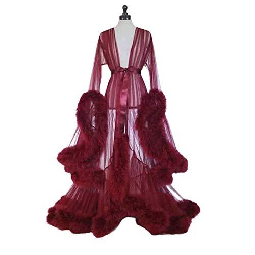 HYWL Damen Feder Braut Robe Hochzeit Schal Lange Dessous Robe Nachthemd Bademantel Nachtwäsche mit Gürtel,4 Wine red