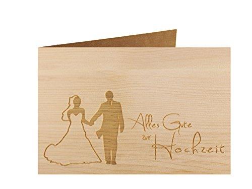 Holzgrußkarte - ALLES GUTE ZUR HOCHZEIT - 100% handmade in Österreich - Postkarte Glückwunschkarte Geschenkkarte Grußkarte Klappkarte Karte Einladung, Holzart:Zirbe
