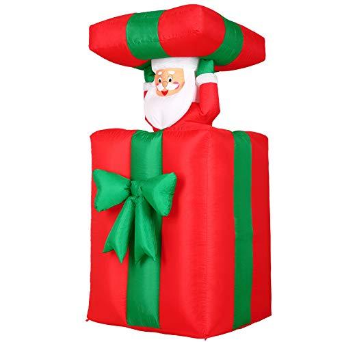 Monzana Aufblasbarer Weihnachtsmann 152cm Springt-aus-der-Box LED Beleuchtet Weihnachten Geschenk Deko Nikolaus Santa