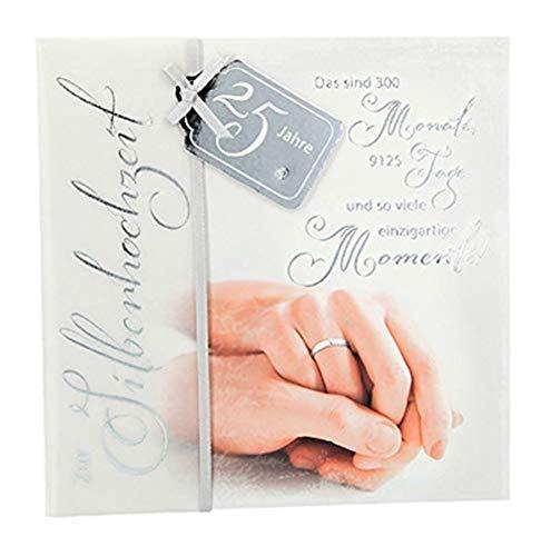 Depesche 4907-047 Emotions Glückwunsch-Karte zur Silber-Hochzeit, elegante Grußkarte mit passendem Spruch und Innentext, inkl. Umschlag, 17 x 16,5 cm