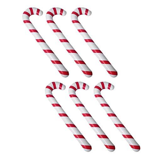Toyvian 6 Stücke Aufblasbare Gehstock Gehhilfe Stock Spazierstock Wanderstock Weihnachten Zuckerstange Krücke Spielzeug Ballon Weihnachtsbaum Hängende Ornamente 88cm