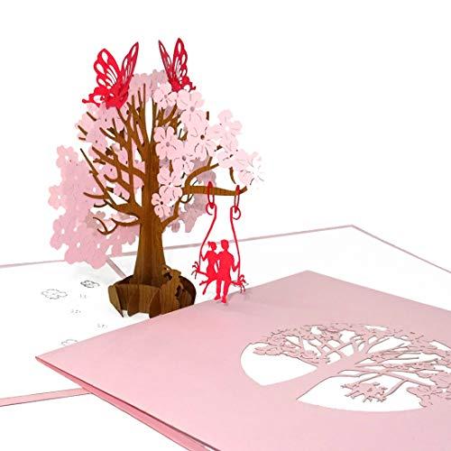 3D Hochzeitskarte - Pop Up Karte zu Hochzeit & Geburtstag mit Umschlag - Einladung, Geschenkgutschein, Einladungskarte & Geschenkverpackung als Hochzeitsgeschenk und zur Verlobung