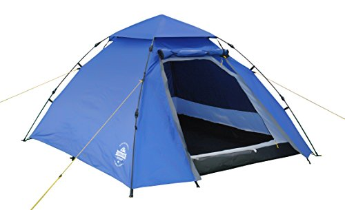 Lumaland Outdoor Pop Up Kuppelzelt Wurfzelt 3 Personen Zelt Camping Festival etc. 215 x 195 x 120 cm robust Blau