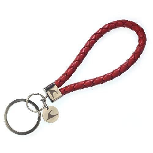 WAVEPIRATE® Echt Leder Edelstahl Schlüsselanhänger Keychain Wave geflochten Rot Damen Herren
