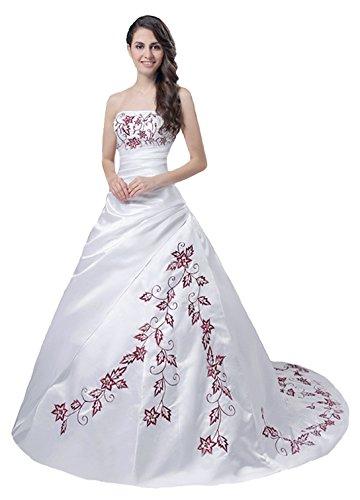FairOnly Trägerlos Weiß Rot Hochzeitskleid M56 (XL)