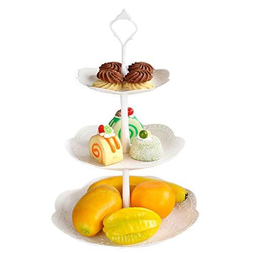 Czemo Etagere 3 Etagen Teller Weiß Tortenständer Kuchenständer, Cupcake Ständer Gebäck Muffin Obst Halter für Party, Geburtstag, Hochzeit, Weihnachten