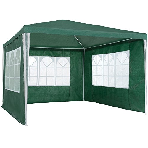 TecTake 800105 - Garten Pavillon 3x3 m inkl. 3 Seitenwänden, Minutenschnelle Montage, Platzsparende Lagerung - Diverse Farben (Grün   Nr. 401512)