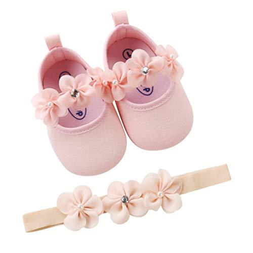 EDOTON 2 Pcs Kleinkind Schuhe+ Stirnband, Baby Mädchen Blumen Schuh Anti-Rutsch-Weiche Besondere Anlässe Taufe Hochzeit Party Schuhe (Rosa, Numeric_17)