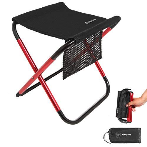 KingCamp Alu Mini Campinghocker Klapphocker Klappstuhl mit Seitentasche Schwarz